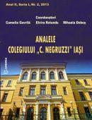 """Revista ANALELE COLEGIULUI """"C. NEGRUZZI"""" IAŞI - Anul II, Seria I, Nr. 2, 2013"""