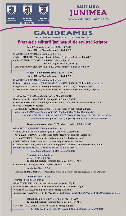 Prezențele editurii Junimea și a revistei Scriptor la Gaudeamus